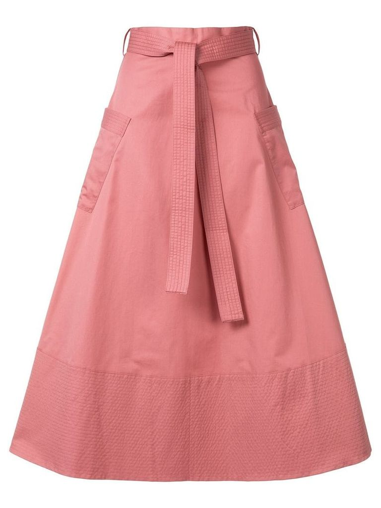 Co belted a-line midi skirt - Pink