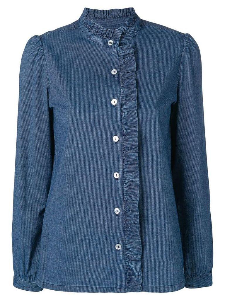 A.P.C. quilted ruffled denim shirt - Blue