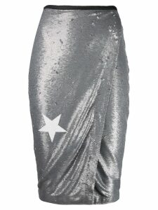 8pm sequin wrap pencil skirt - Grey