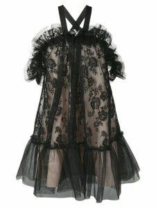 Gina tulle lace mini dress - Black