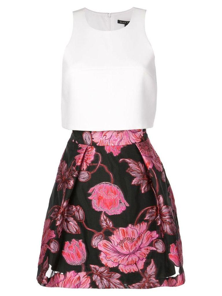 Black Halo floral A-line skirt