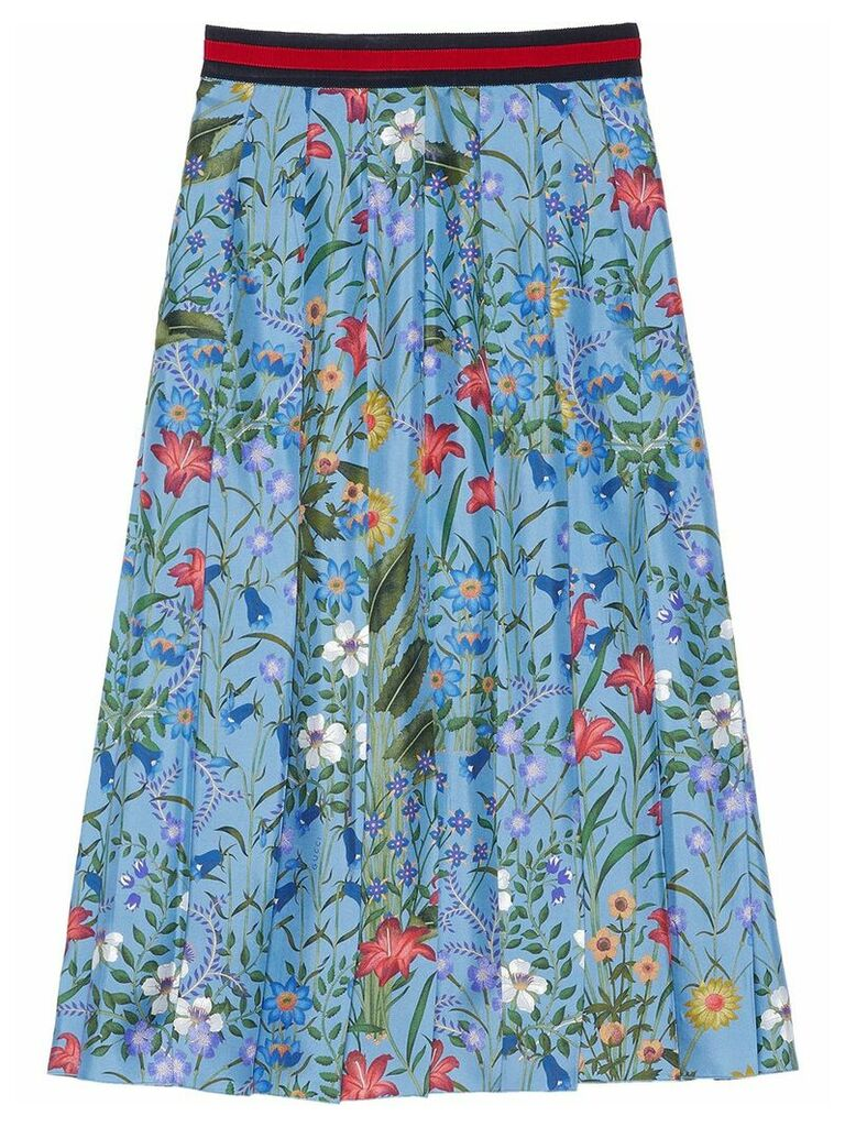 Gucci New Flora print skirt - Blue