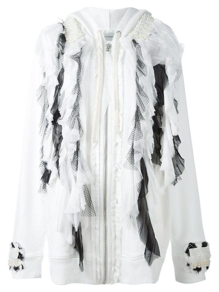 Faith Connexion ruffled tule cardi-coat - White