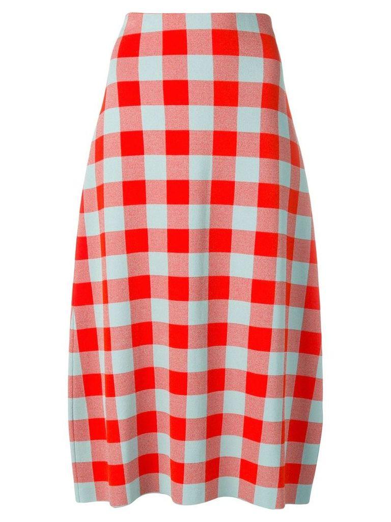 Jil Sander check flared skirt