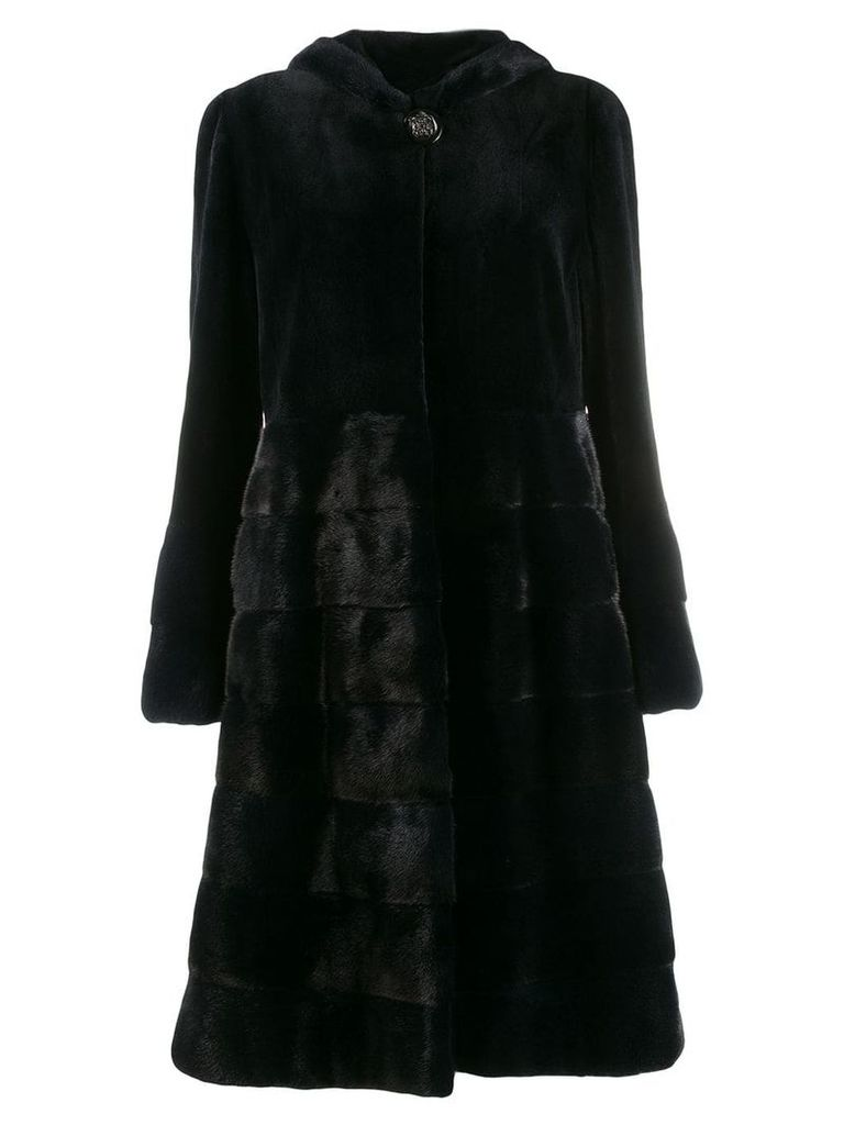 Liska hooded fur coat - Blue