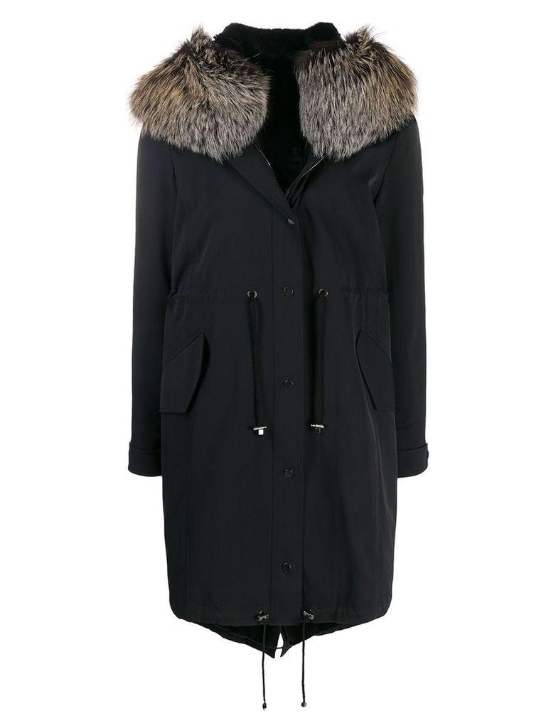 Liska oversized fur-lined coat - Blue