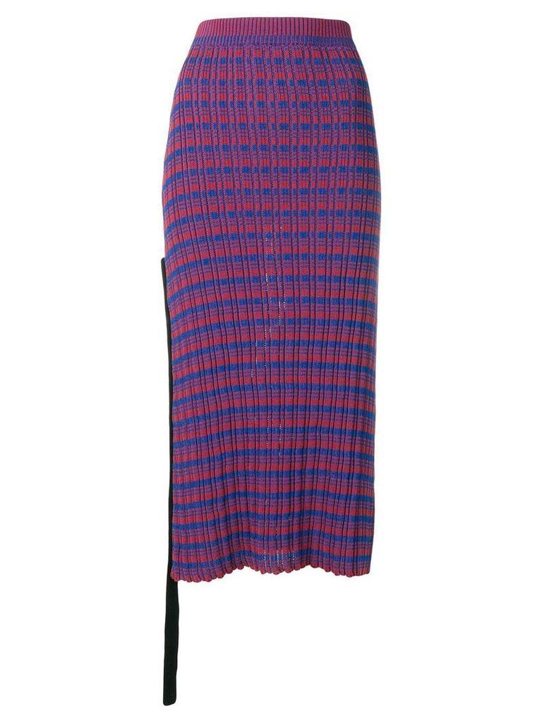 Jil Sander check knitted midi skirt - Red