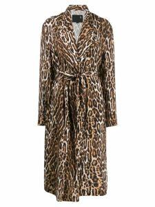 R13 leopard print trenchcoat - Brown