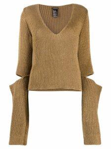 Ann Demeulemeester knitted top - Brown