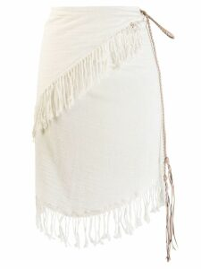 Caravana fringed asymmetric skirt - Neutrals