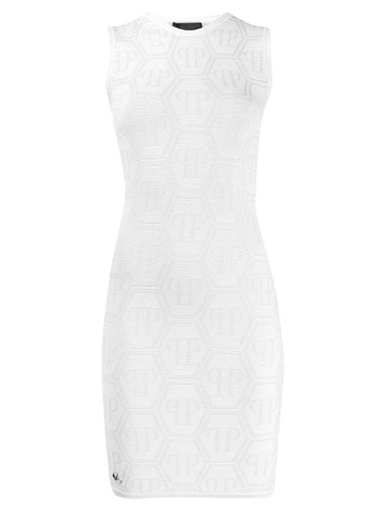 Philipp Plein fitted sleeveless dress - White