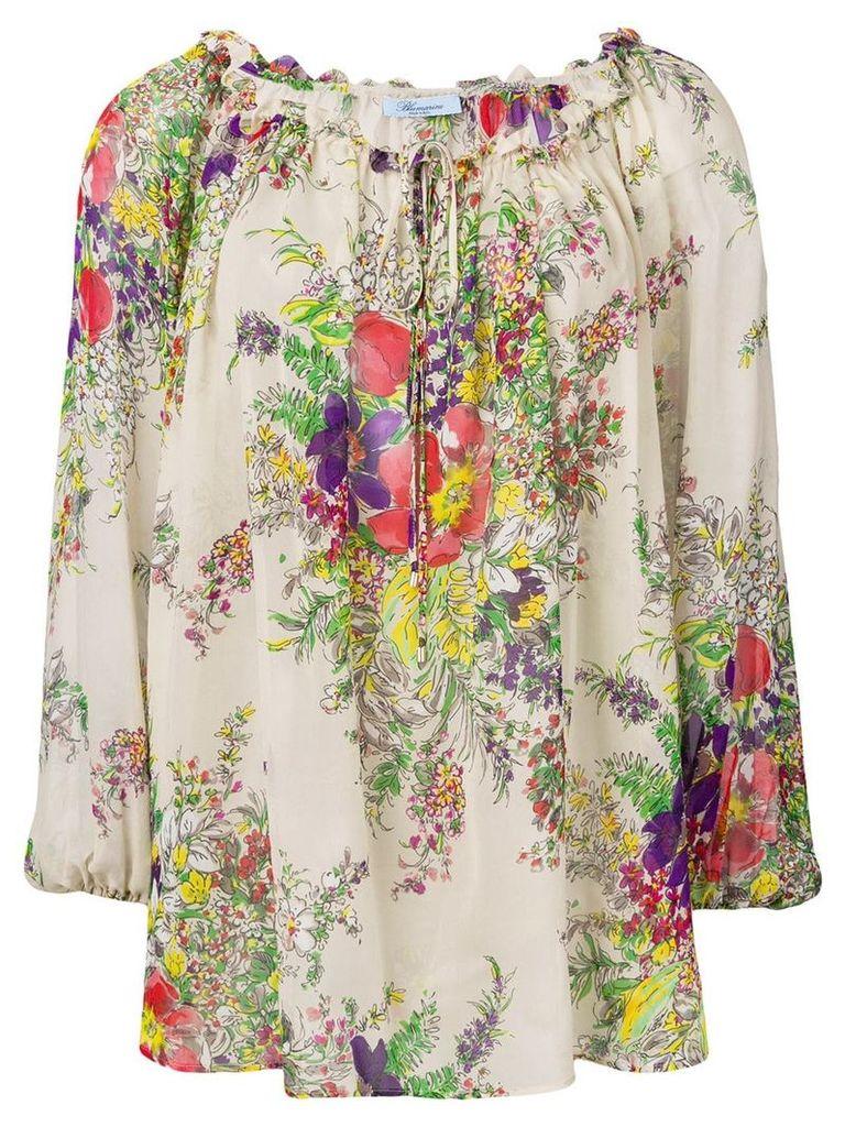 Blumarine floral loose fit blouse - Neutrals