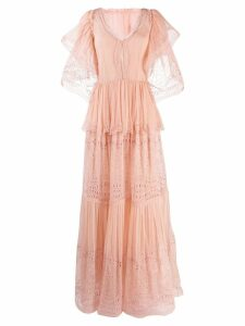 Alberta Ferretti embroidered ruffle maxi dress - Pink