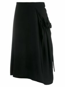 Y's asymmetrical skirt - Black