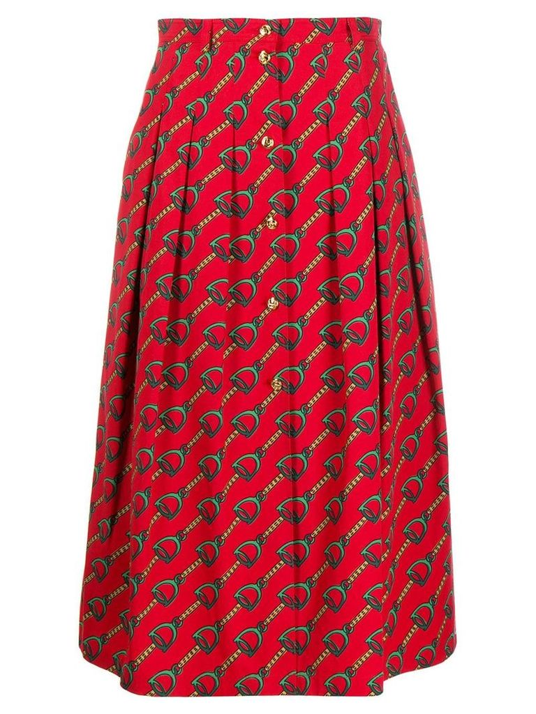 Gucci chain print midi skirt - Red