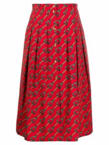 Gucci chain print midi skirt - Red