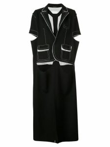 MAISON MARGIELA cut out contrast stitch coat - Black