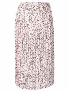 Plan C printed pleated midi skirt - Pink