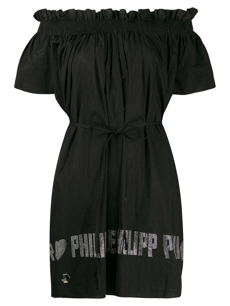 Philipp Plein off the shoulder dress - Black