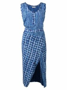 Altuzarra checked fitted dress - Blue