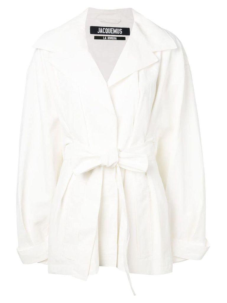 Jacquemus oversized wrap belted coat - White