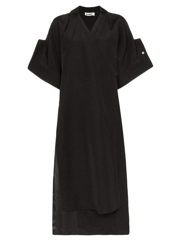 Jil Sander Galatea cuffed midi dress - Black