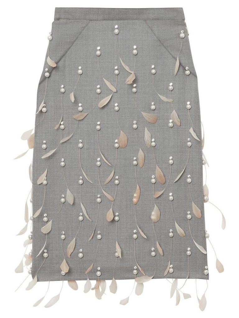 Burberry embellished pencil skirt - Neutrals