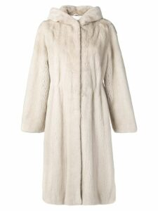 Liska hooded midi coat - Neutrals