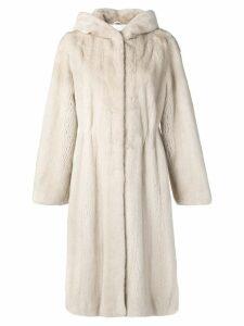 Liska hooded midi coat - Neutrals