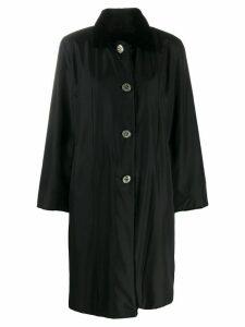 Liska mink fur collar coat - Black