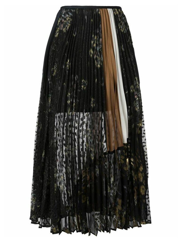 Mame floral print pleated skirt - Black