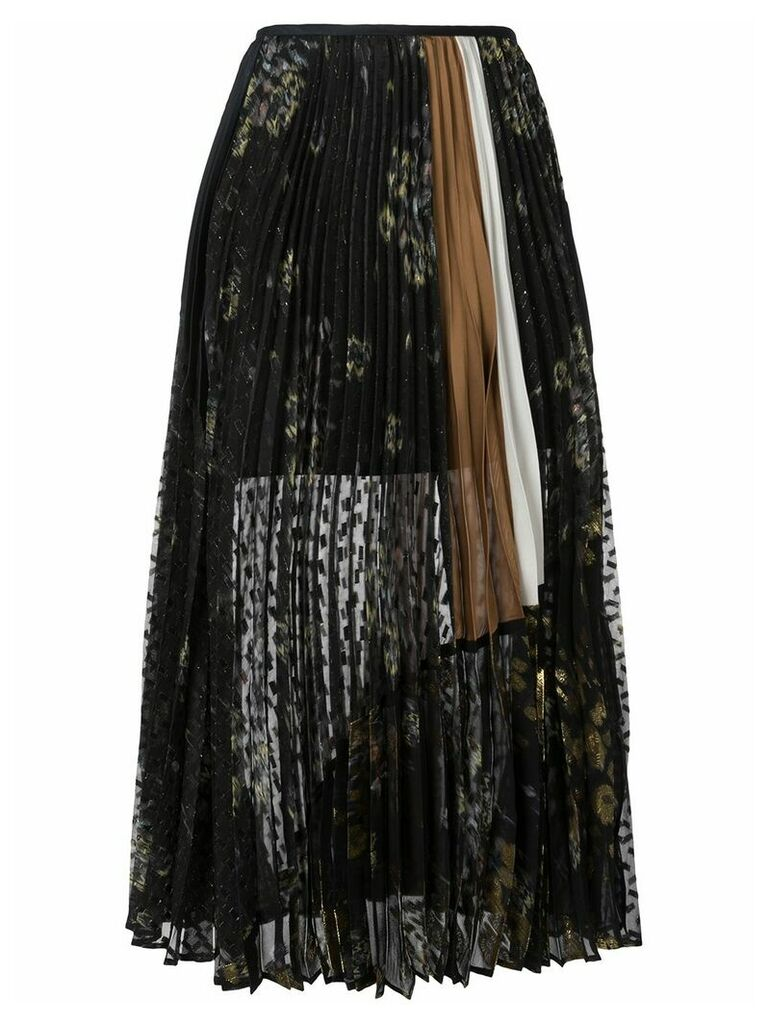 Mame floral print pleated skirt - Black