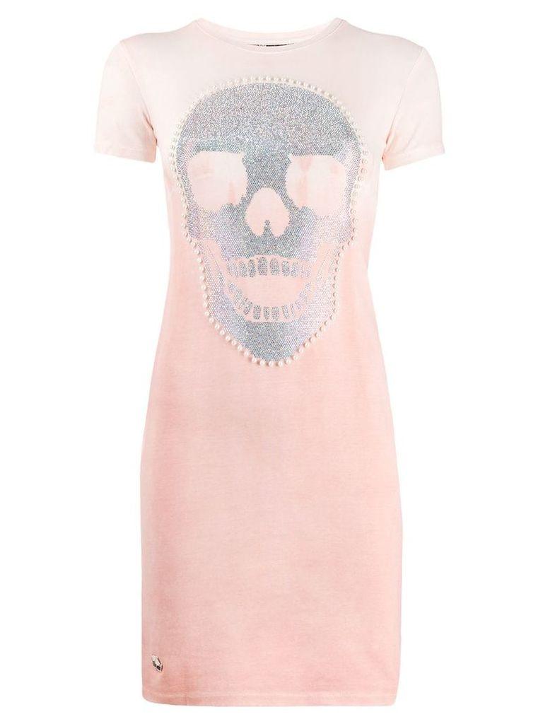 Philipp Plein skull print T-shirt dress - Pink