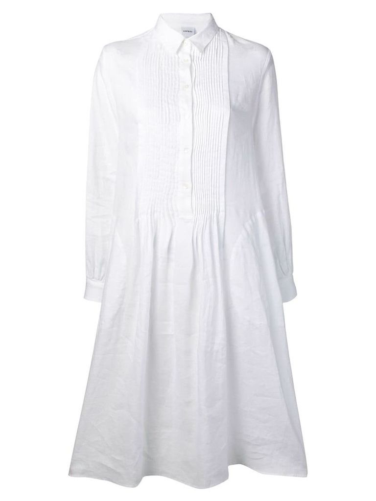 Aspesi pleated bib shirt dress - White