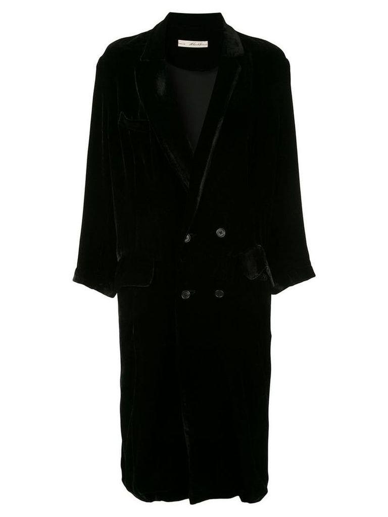 Aleksandr Manamïs double breasted velvet coat - Black