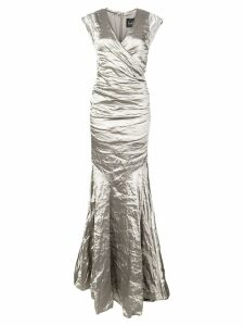Nicole Miller crumpled effect gown - Silver