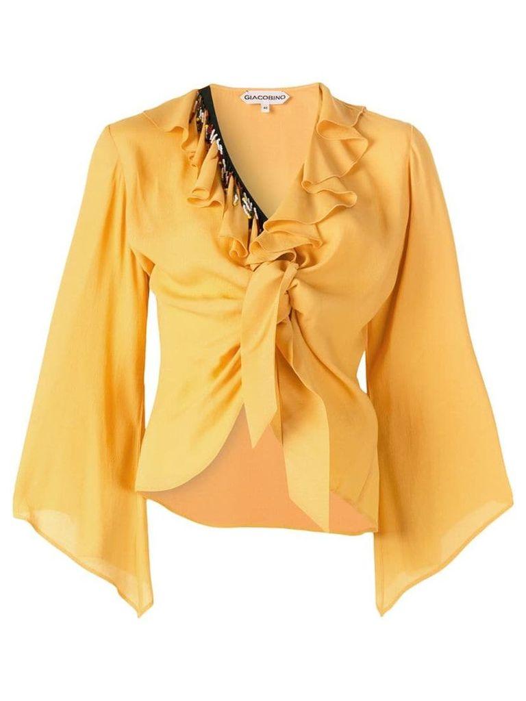 Giacobino ruffled tie knot blouse - Yellow