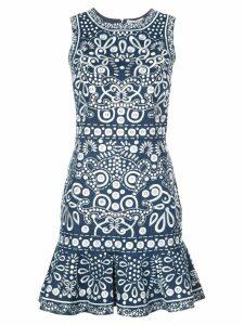 Alice+Olivia contrast embroidery dress - Blue