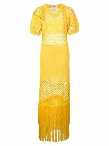 Sonia Rykiel mesh fringe maxi dress - Yellow
