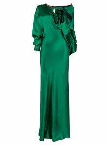 Y/Project ruffled-neck satin gown - Green