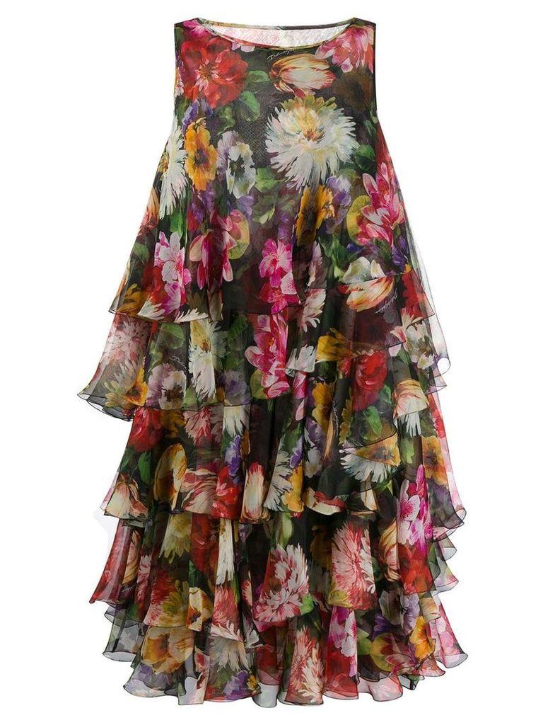 Dolce & Gabbana tiered floral print dress - Black