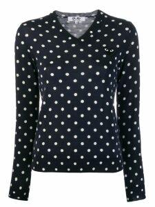 Comme Des Garçons Play polka-dot knit sweater - Blue