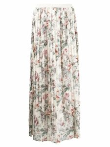 Semicouture floral print pleated skirt - Neutrals