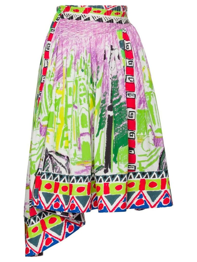 Prada printed poplin skirt - Green