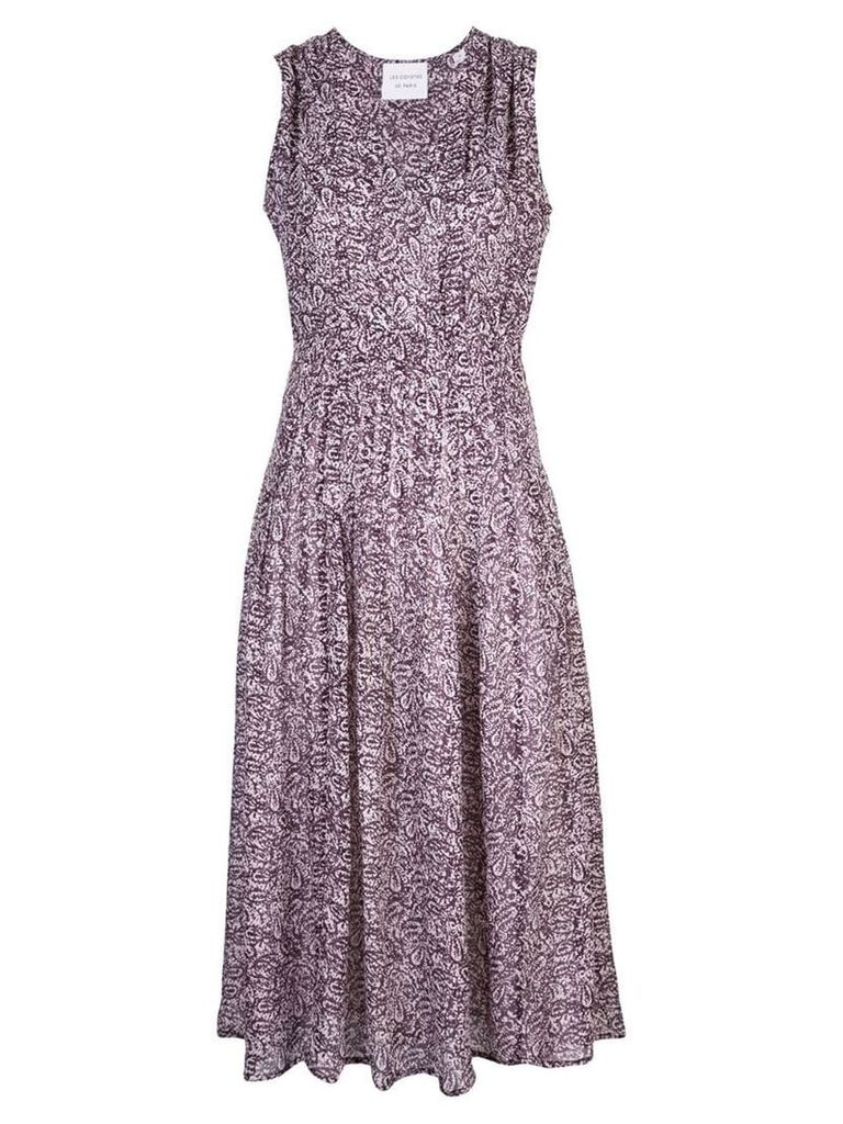 Les Coyotes De Paris Veerle printed sleeveless dress - Purple