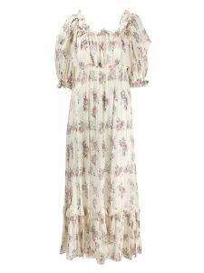 Love Shack Fancy floral print tiered dress - Neutrals