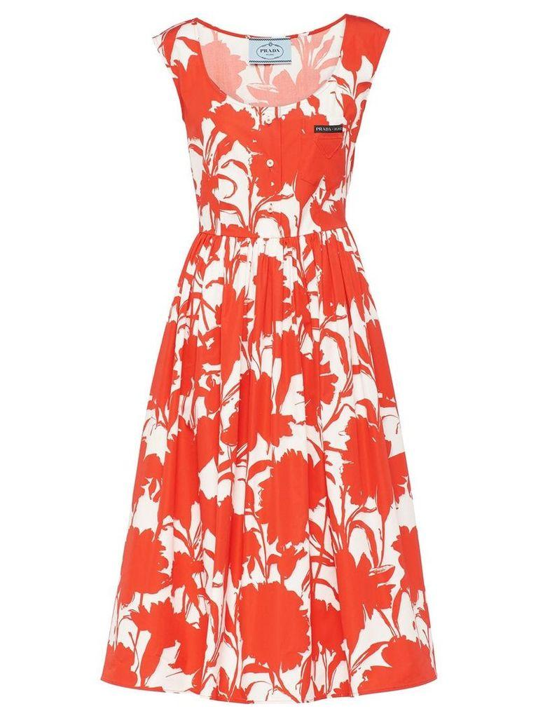 Prada carnation print poplin dress - Red