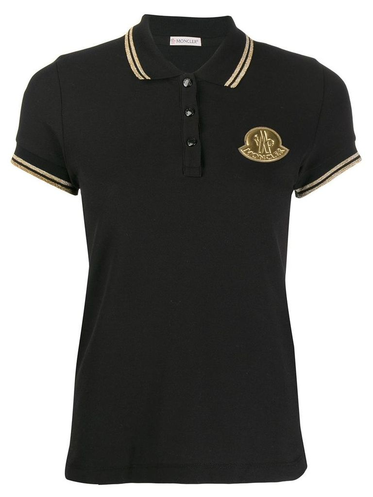 Moncler logo patch polo shirt - Black