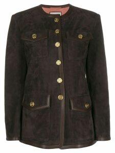 Gucci multi-pocket suede jacket - Brown