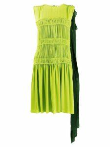Nº21 contrast panel gathered dress - Green